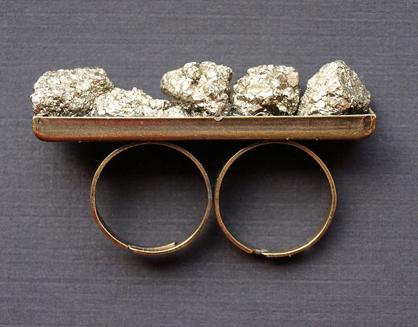 Pyrite Double Finger Ring, Two Finger Pyrite Ring