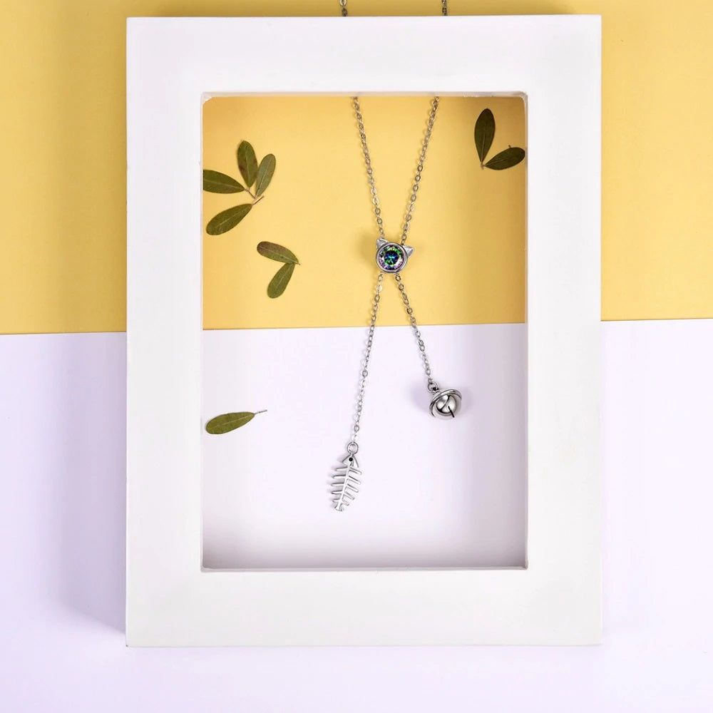 Lariat cat necklace - WHYTE QUARTZ