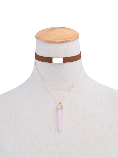 Double Layer Choker with Crystal Pendant Necklace