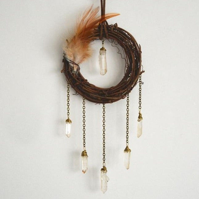 Rattan Circle + Natural Crystal Points Dream Catcher