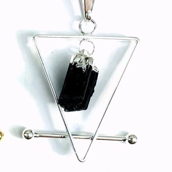 Black Tourmaline and Quartz Pendants