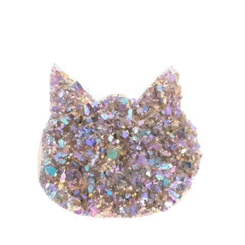 NEW! Small sized titanium coated amethyst druzy cat head