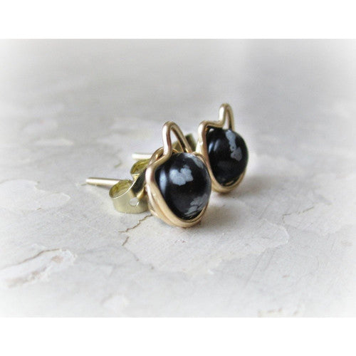 Snowflake Obsidian + Gold Cat Stud Earrings