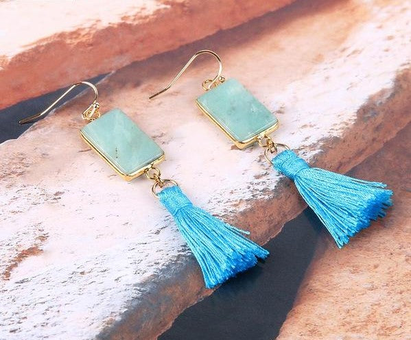 Amazonite with Blue Silk Fringed Boho Tassel Earrings