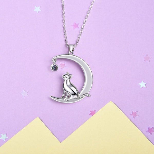 Cat Sitting on the Moon with Topaz Sterling Silver Necklace