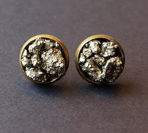 Pyrite Cluster Stud Earrings, Raw Pyrite Earrings