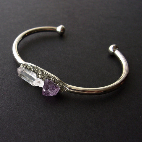 Pyrite, Amethyst, and Quartz Bangle, Gemstone Bracelet