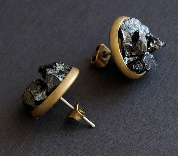 Black Tourmaline Cluster Stud Earrings, Raw Black Tourmaline Earrings