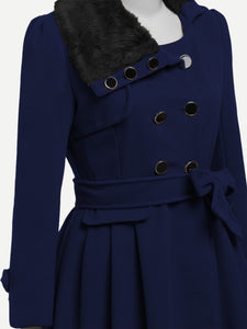 Faux Fur Collar Double Layered Coat