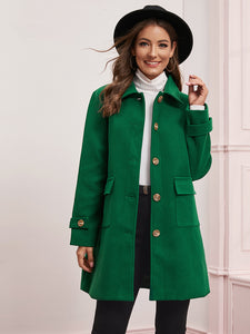 Solid Button Through Flap Pocket Coat