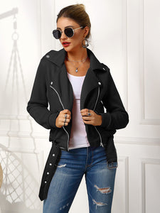 Zip Up w/Buckle Belted Moto Jacket