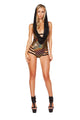 Hooded Gold Romper with Open Side and Strapped Bottom Detail