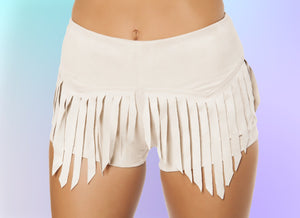 Suede Shorts with Fringe Detail