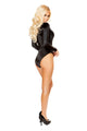 3442 - Roma Rave Long Sleeved V Neck Black Romper with Lace Up Detail