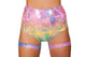 3452 - Roma Rave Colorful Multi Laser High Waisted Shorts
