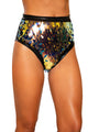 Tear Drop Sequin & Shimmer High-Waisted Shorts