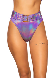 Shimmer High Rise High-Waisted Shorts with Belt Detail