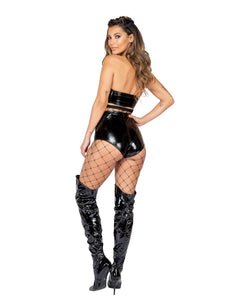 3888 - 1pc Latex High-Waisted Shorts with Zipper Closure