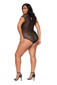 LI253 Roma Confidential Wholesale Plus Size Lingerie Black Cap Sleeve Keyhole Bodysuit with Snap Bottom