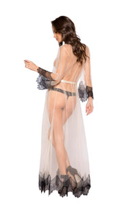 LI255 Roma Confidential Wholesale Lingerie Beige Elegant Sheer Maxi Length Robe with Eyelash Lace Detail