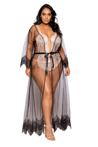LI255 & LI256 - Elegant Sheer Maxi Length Robe with Eyelash Lace Detail