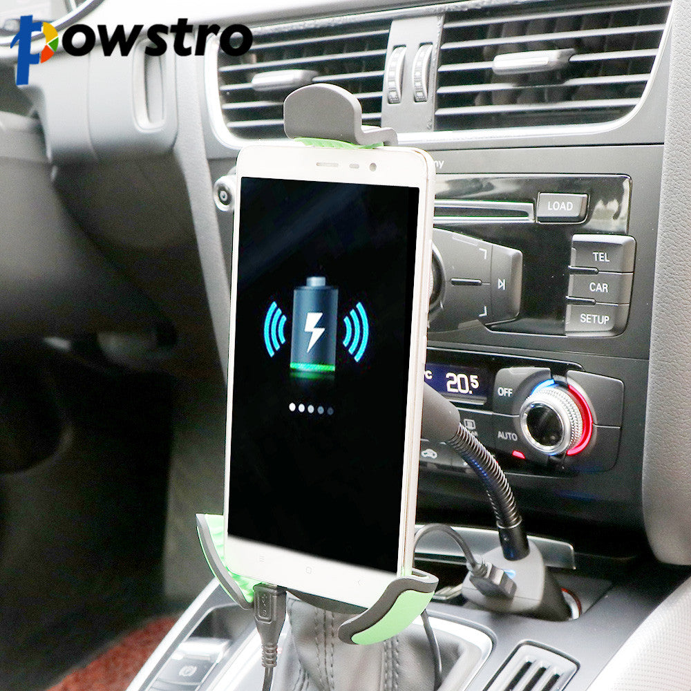 Powstro Car Mobile Phone Holder Universal Car Stand  Mount Car Smartphone Charger 5V 1.5A For iPhone 8 6 6S SE Samsung S8