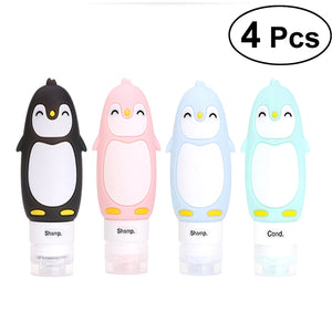 4pcs Silicone Travel Bottle Penguin Travel Cosmetics Packaging Bottle Collection Package Refillable Cosmetic Travel Containers