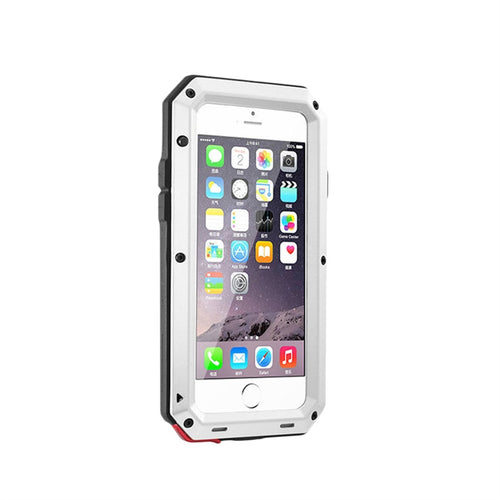 Shockproof Dustproof Water Resistant Aluminum Alloy Metal Tempered Glass Full-body Protection Bumper Phone Case Cover for iPhone 7/8 (White)