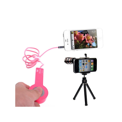 2-in-1 1M Camera Cable Remote Release Controller & 8X Zoom Camera Mobile Telephoto Lens Kit for iPhone 4S /iPhone 4