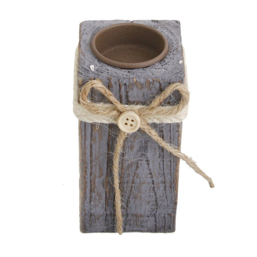 Vintage Wooden Tea Light Tealight Candle Holder with Jute Ribbon Decor - Size S