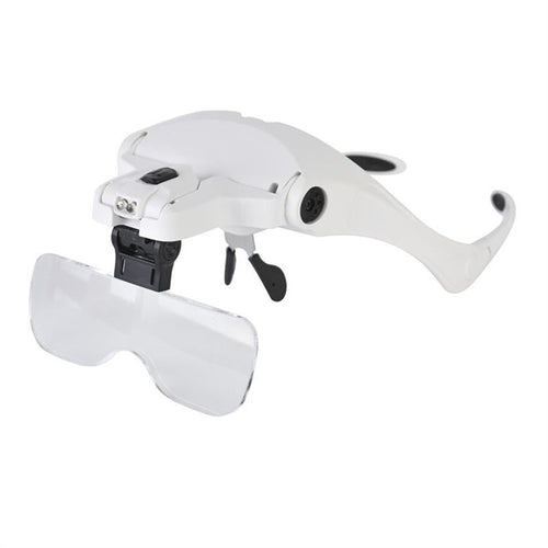Interchangeable Lens Double Eye Watch Repair Magnifier Glasses Loupe Lens Jeweler Watch Repair With LED Light (White)