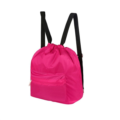 Drawstring Backpack Waterproof Outdoor Sports Backpack for Traveling (Rose Red)