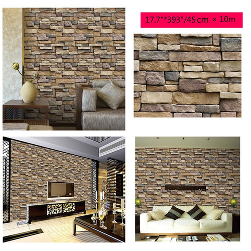 3D Wall Stick 10 Meters Brick Stone Rustic Effect Self-adhesive Wall Sticker Hom