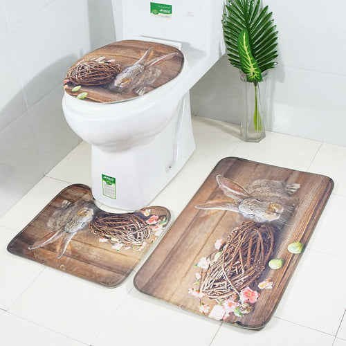 3Pcs Bathroom Non-Slip Cartoon Rabbit Egg Pedestal Rug Lid Toilet Cover Bath Mat