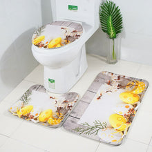 Load image into Gallery viewer, 3Pcs Bathroom Non-Slip Cartoon Rabbit Egg Pedestal Rug Lid Toilet Cover Bath Mat