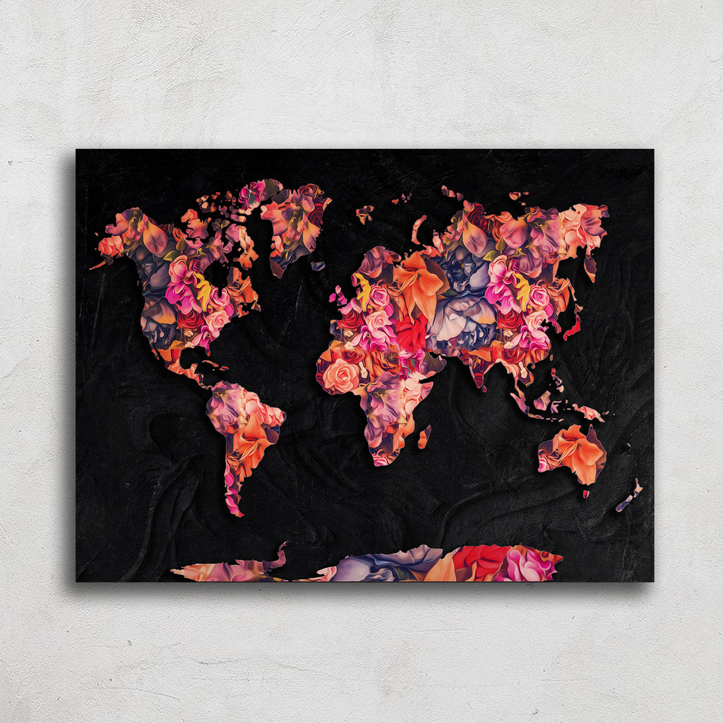 World Map Flower Art Print