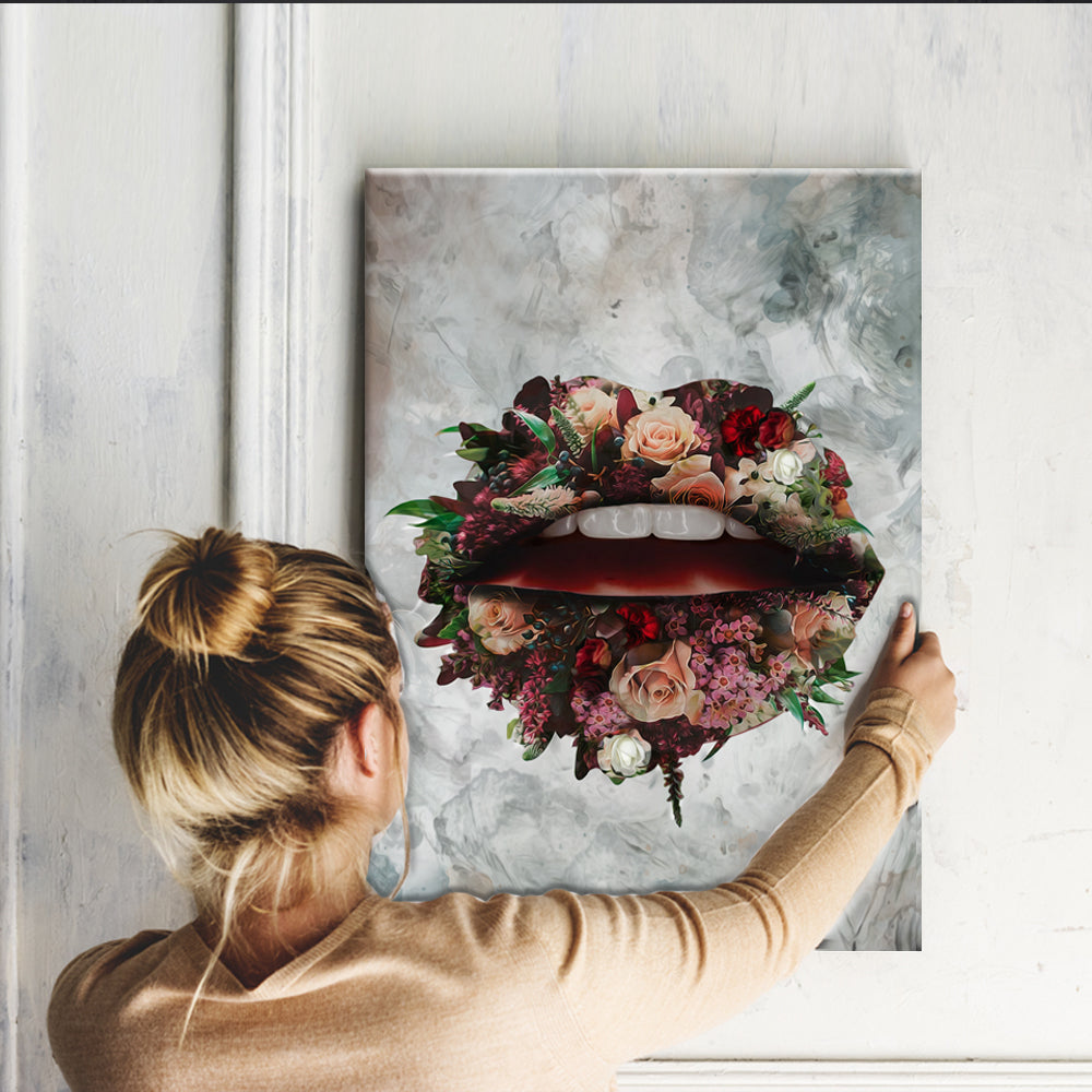 Bloom Lips Stretched Canvas