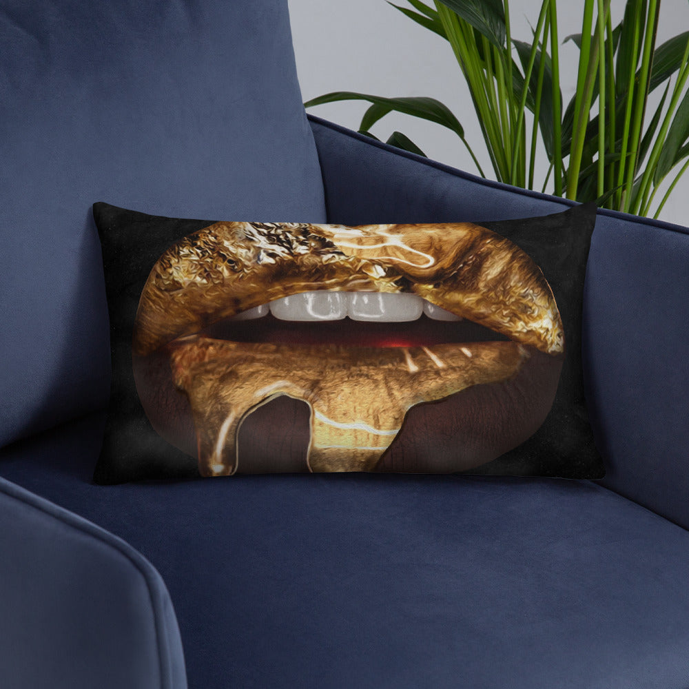 Black Gold Lips Throw Pillow