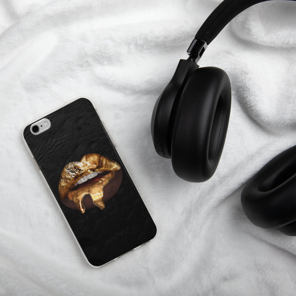 Black Gold Lips iPhone Case