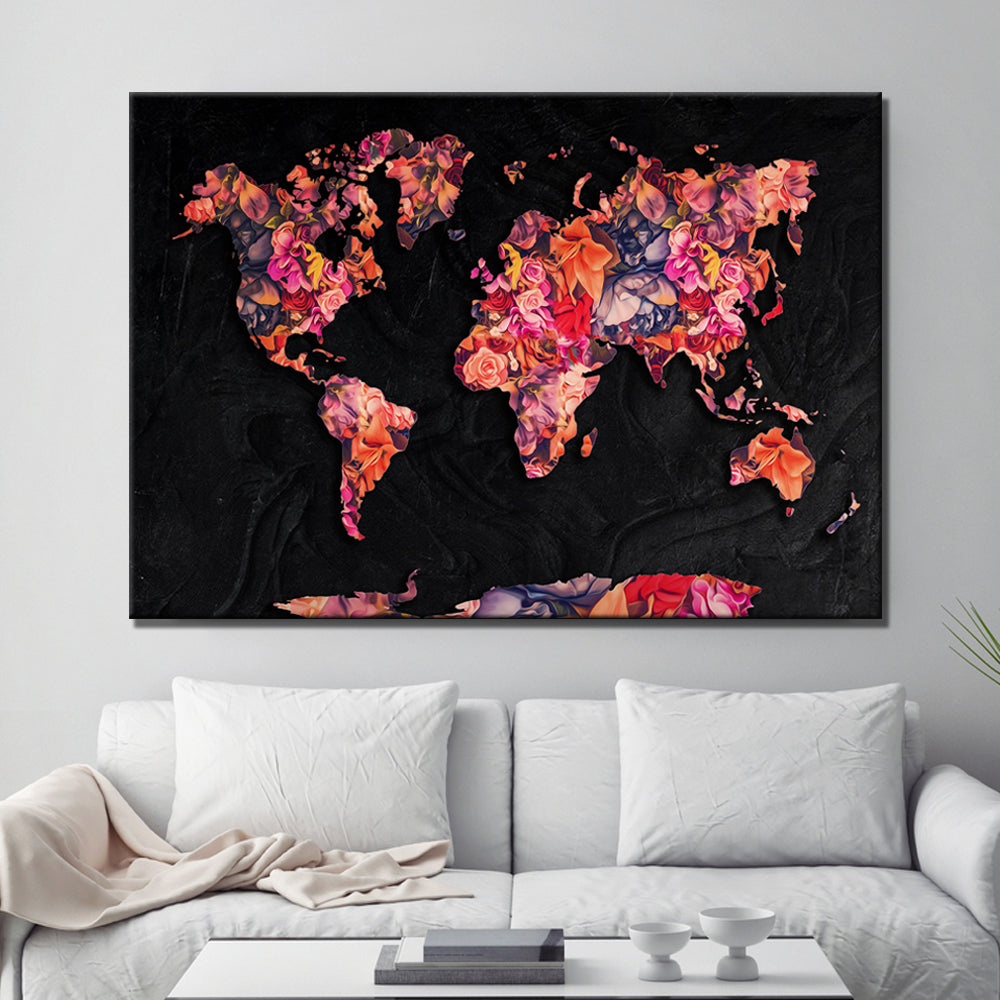 World Map Flower Canvas