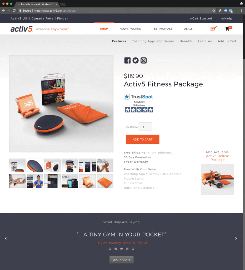active 5 shopify product page