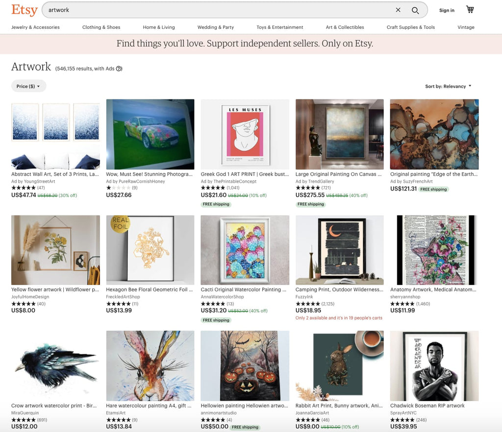 sell Etsy artworks on Shopify