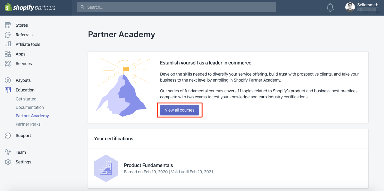 Courses Shopify Parters Academy