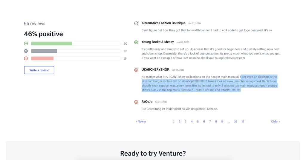 Venture shopify theme review