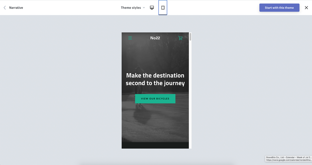 Narrative shopify theme mobile demo
