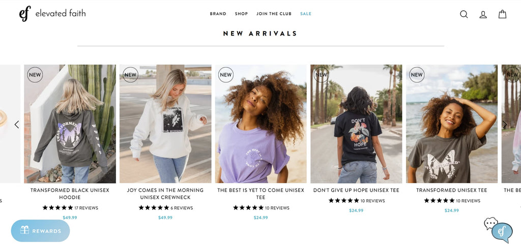 Elevated Faith Shopify T-shirt store