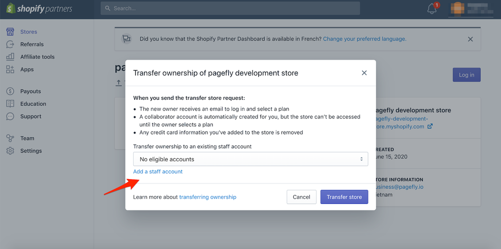 Shopify development store ownership transfer