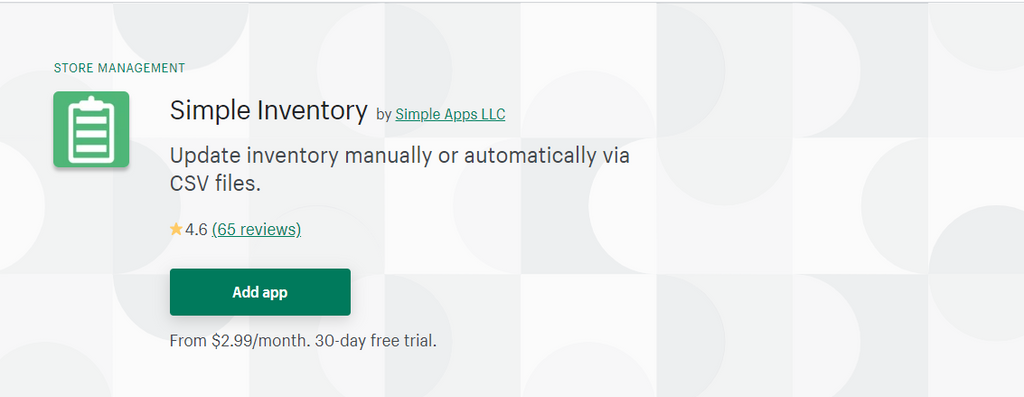 Simple Inventory shopify inventory management