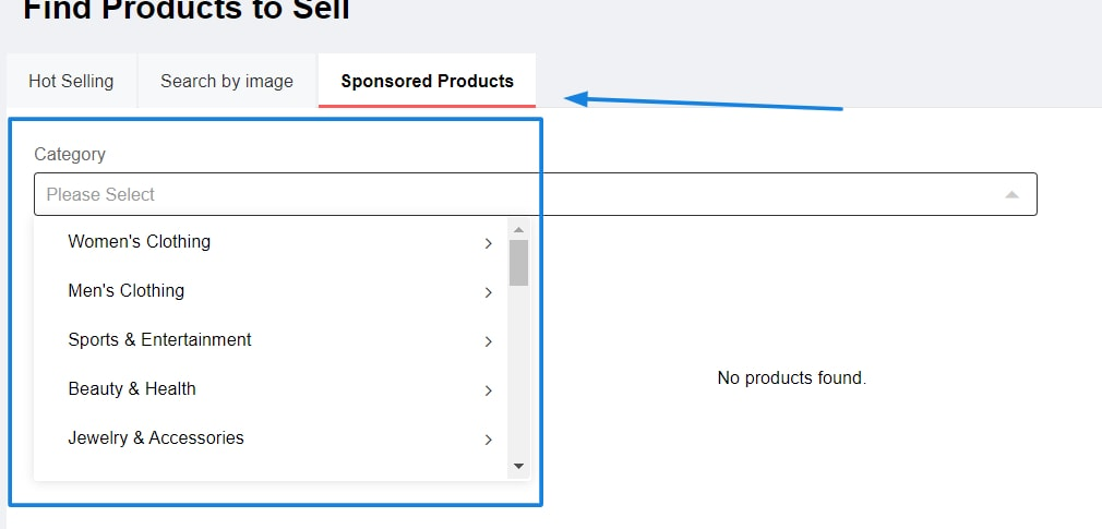 Search Sponsored Products in Aliexpress Dropshipping Center