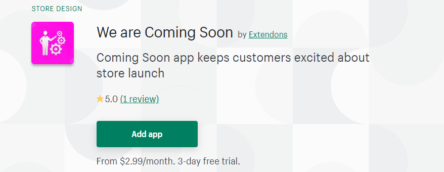 We are coming soon shopify app